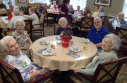 Seniors at an English tea party